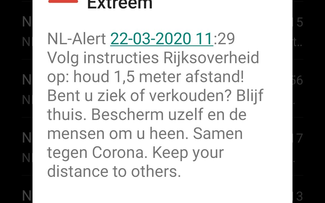 NL-alert vanwege Covid-19